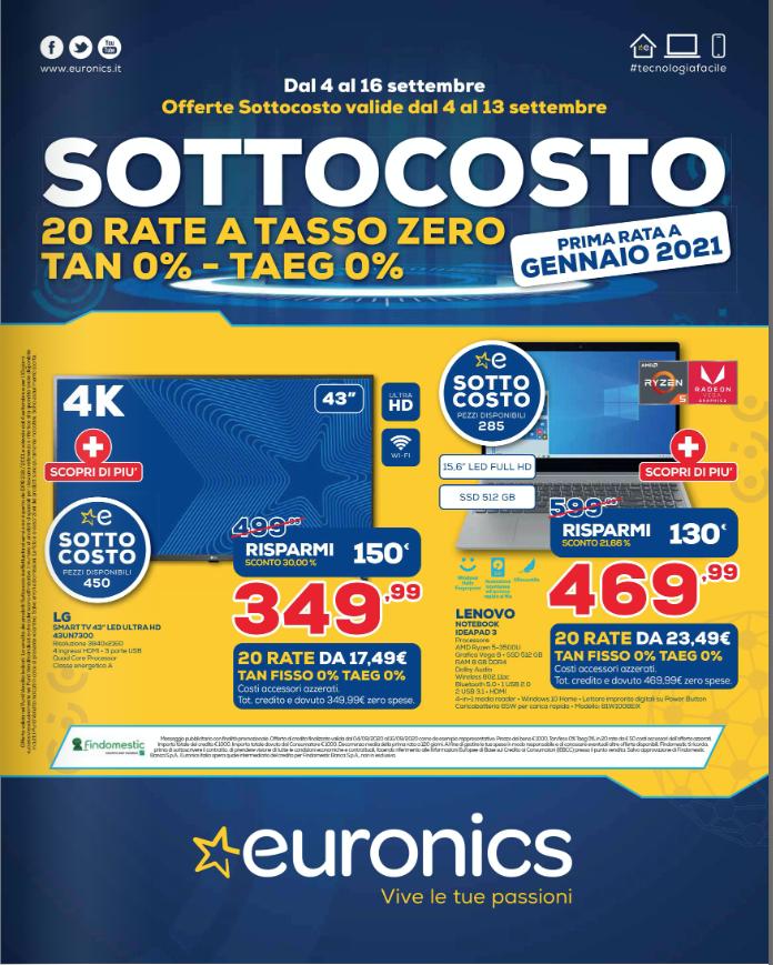Volantino Euronics SOTTOCOSTO valido dal 04 al 16 set