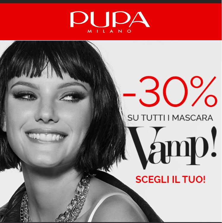 Da Pupa - 30% sui mascara. Promozione valida ONLINE E NEI PUPA STORE fino al 27 settembre 2020. Non cumulabile con altre promo.