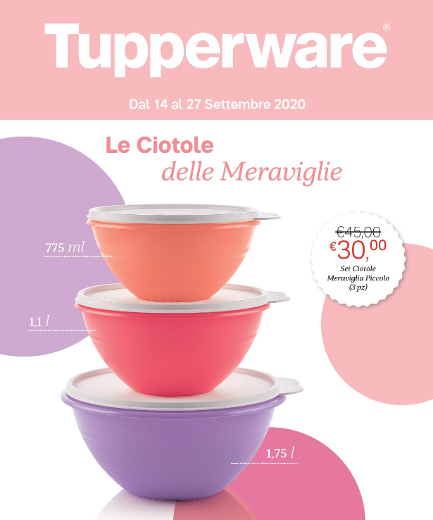 """Dal 14 al 27 Settembre puoi acquistare a 30€ il set di 3 ciotole """"Meraviglia"""", con capienza di 775 ml, 1,1L e 1,75 L."""