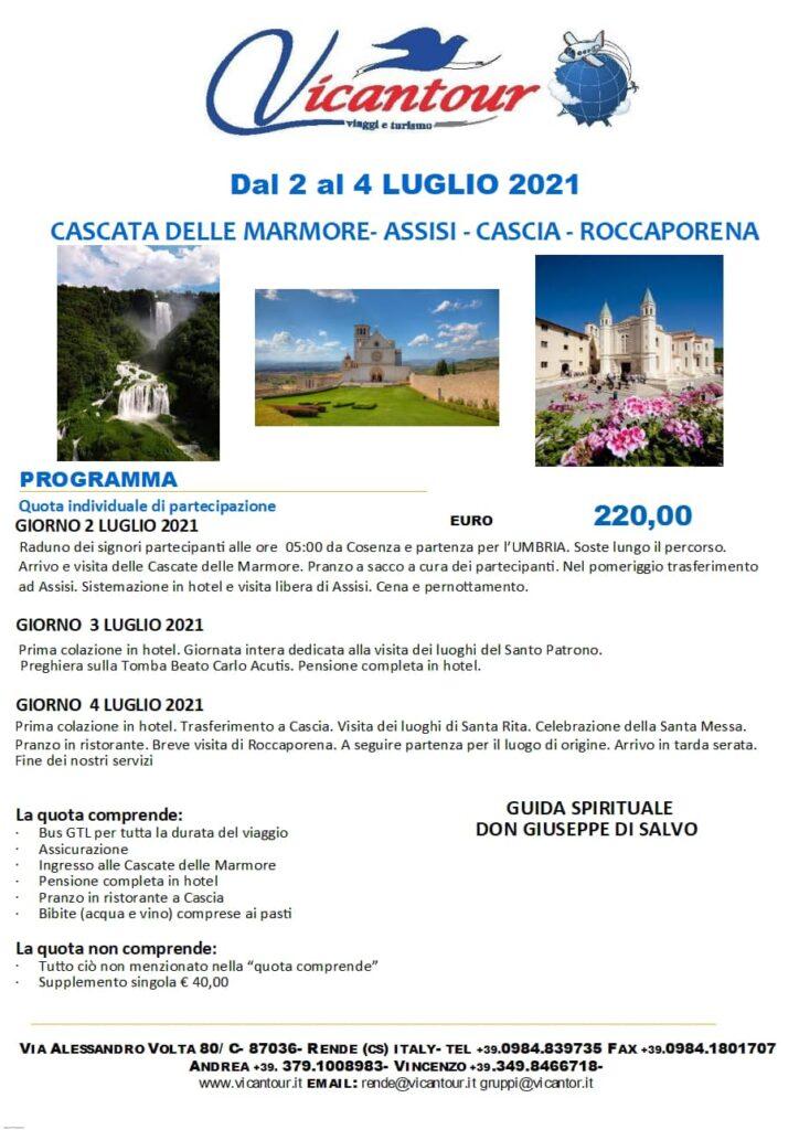Vicantour Assisi-Cascia-Roccaporena- cascate delle Marmore
