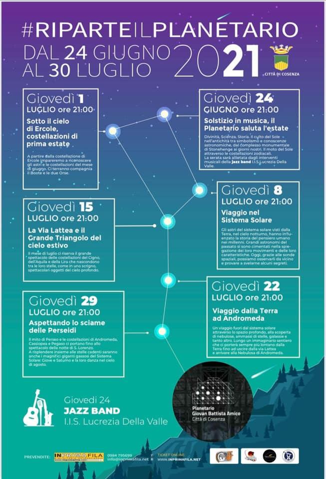 Riparte il Planetario dal 24 Giugno al 30 Luglio 2021