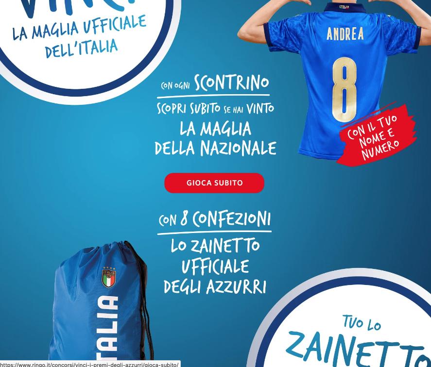 Ringo: Vinci la maglia ufficiale dell'Italia o lo zainetto