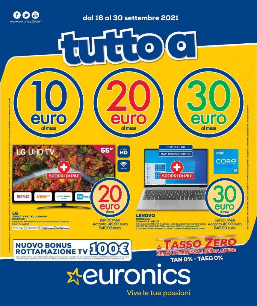 Euronics Tutto a 10€, 20€ e 30€ al mese